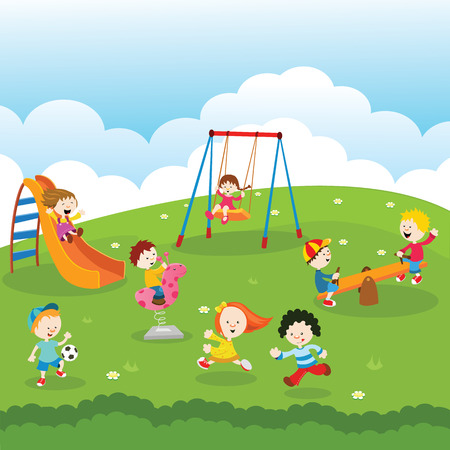 kids playing: Kids at Park Illustration