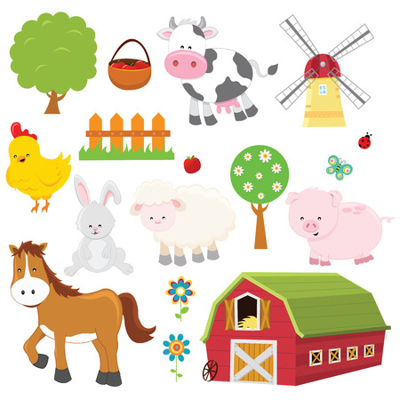 barn barnyard: Farm Set Illustration