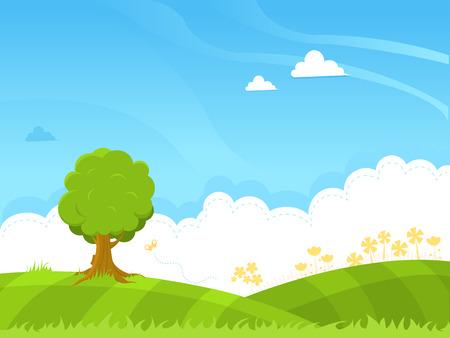 landscape garden: Spring Background Illustration