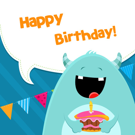 note card: Monster With Cake Illustration