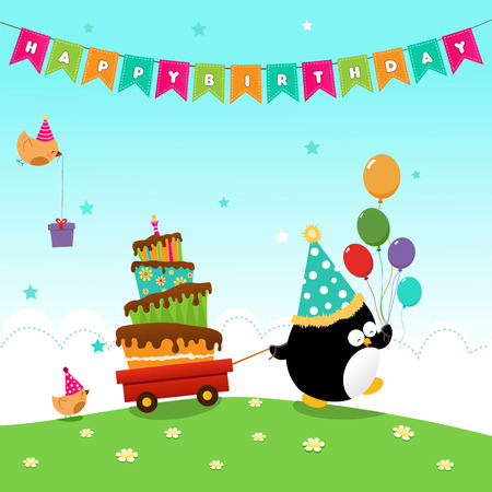 flying hat: Penguin Delivering Birthday Cake Illustration