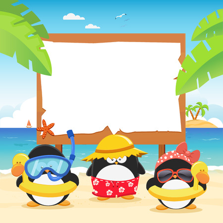 ビルボードと夏ペンギン  イラスト・ベクター素材