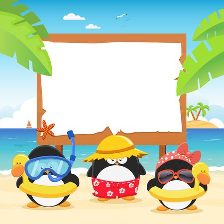 pinguino caricatura: Pingüinos de verano con la cartelera Vectores