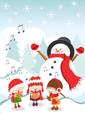 クリスマスキャロルを歌う子供たち
