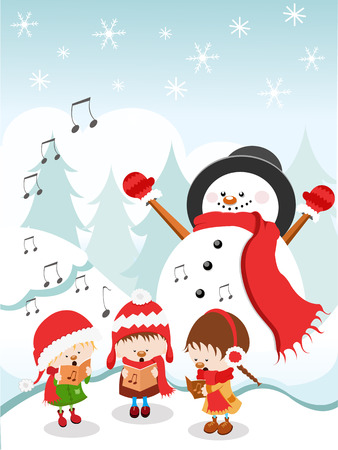 caroler: Kids Singing Christmas Carol