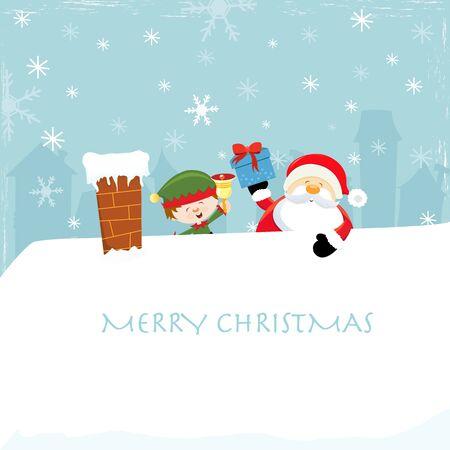 neige noel: P�re No�l sur le toit avec Elf