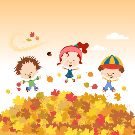 autumn sky: Fall Kids Illustration