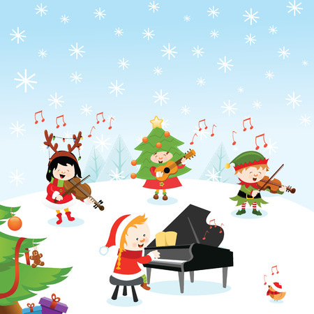 singing bird: Christmas Music Illustration
