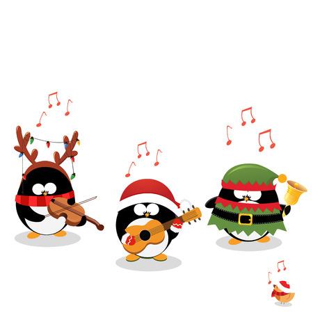 Pingüinos reproducción de canciones de Navidad Vectores