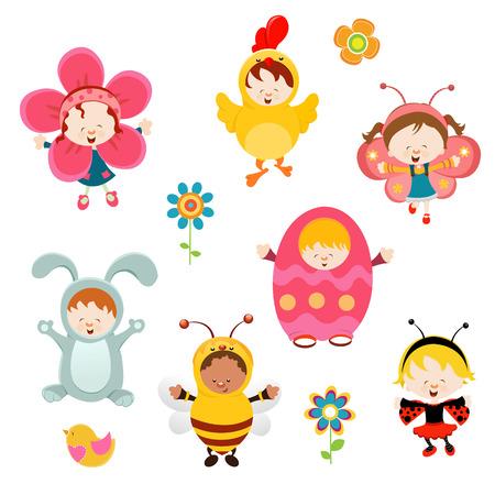 costume party: Spring Kids Illustration