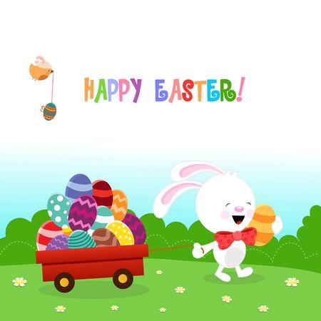 spring flower: Cute Rabbit Delivering Easter Eggs