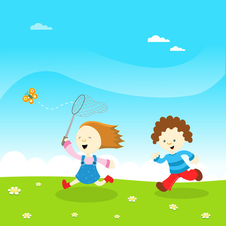 child laughing: Kids Catching Butterfly