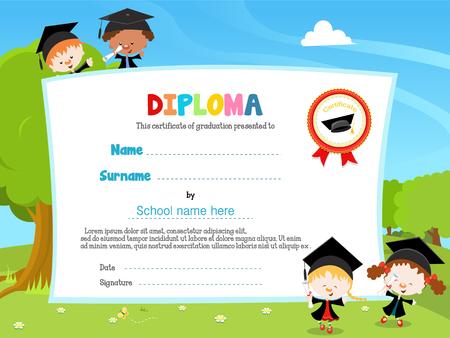 Los niños con el diploma Foto de archivo - 53260868