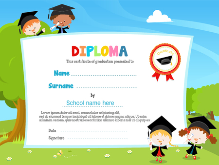 graduacion: Los niños con el diploma Vectores
