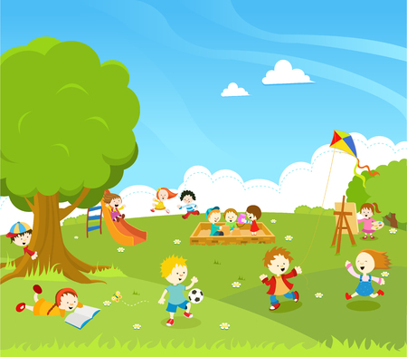 kids painting: Kids Playing At Park Illustration