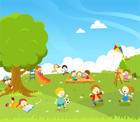 balones deportivos: Los niños que juegan en el parque Vectores