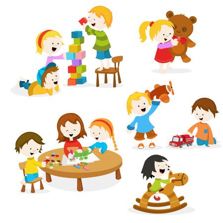 dessin enfants: Enfants jouant avec des jouets Illustration