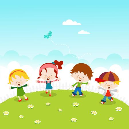 spring: Spring KidsKids Celebrating Spring