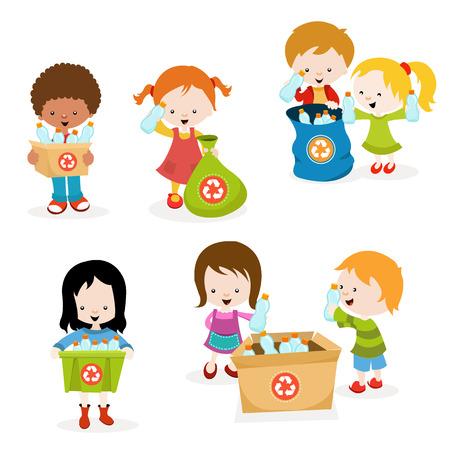 basura: Niños recogiendo botellas de plástico para reciclaje Vectores