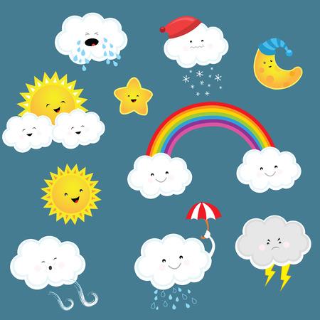 cartoon cloud: Weather Set Illustration