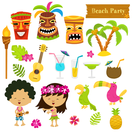 tiki party: Hawaiian Set Illustration