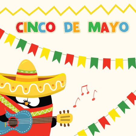 latin: Penguin Celebrating Cinco De Mayo