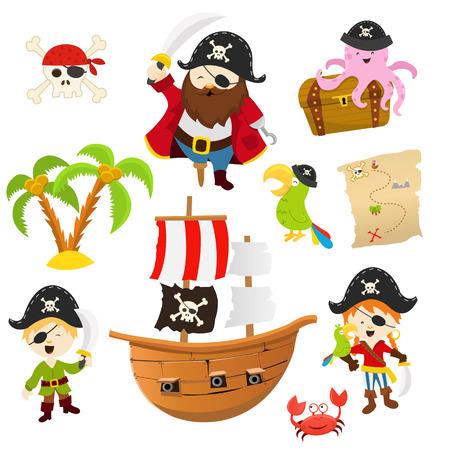 海賊セット  イラスト・ベクター素材