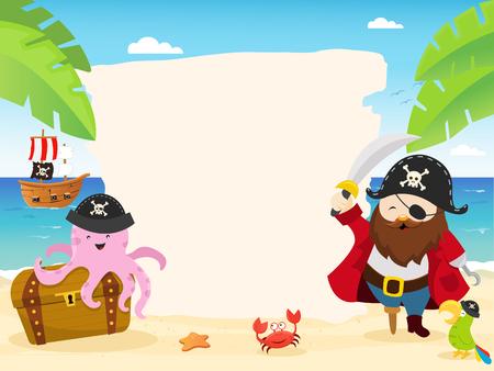 Template piraat Stock Illustratie