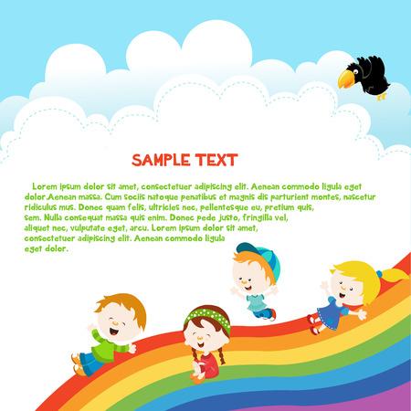 Kids Enjoying Rainbow Template