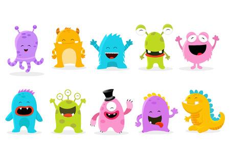 dinosaurio caricatura: Caracteres lindos del monstruo Vectores