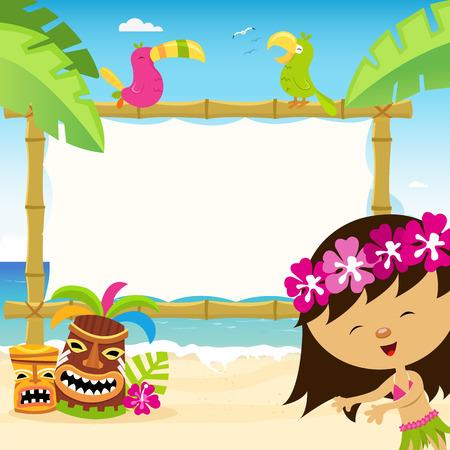 exotic dancer: Billboard with Hawaiian Girl