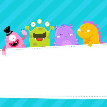 niños con pancarta: Template Monster Vectores