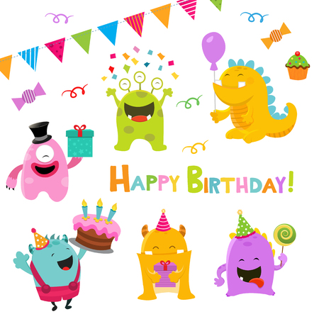kids playing: Birthday Monsters Illustration