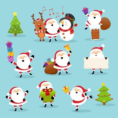 Santa mignonne Set Vecteurs