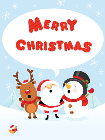 Santa With Reindeer and Snowman Illustration