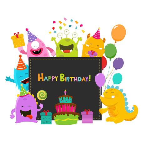 hurray: Happy Birthday Monsters Card Illustration