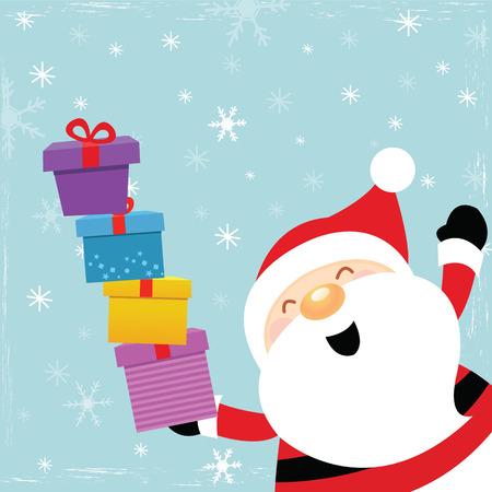 Santa With Pile of Gifts Ilustração