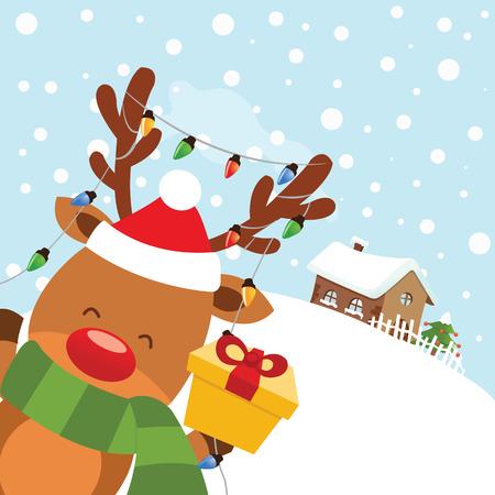 Cute Reindeer With Christmas Gift Ilustracja