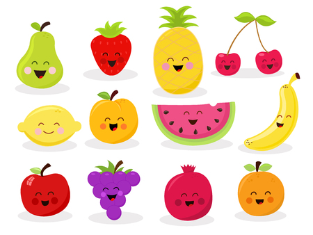 cherries isolated: Cut Fruit Characters Illustration