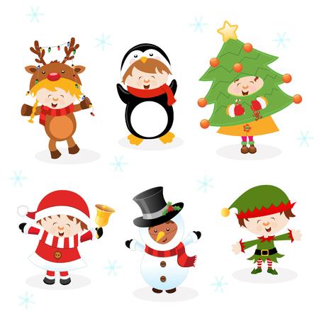 pinguinos navidenos: Niños con trajes de Navidad Vectores