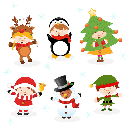 Children With Christmas Costumes