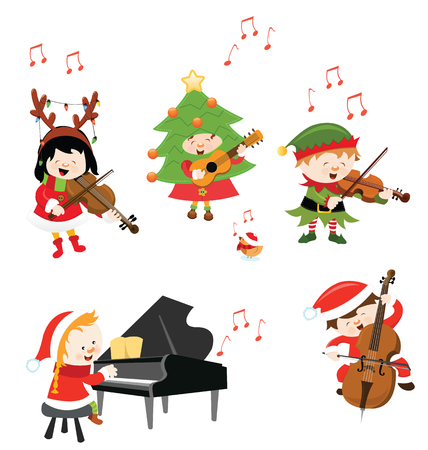 Kids Playing Christmas Music Isolated Ilustracja