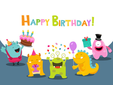 Birthday Card With Cute Monsters