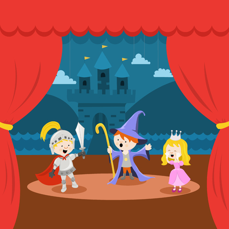 Little Kids' Theater Performance Illustration