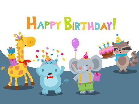 Happy Birthday Card With Animals