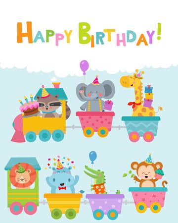 Cute Birthday Animals On Train Ilustracja