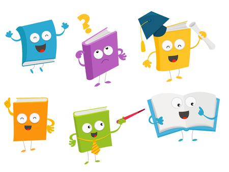 Cute Cartoon Book Character Set