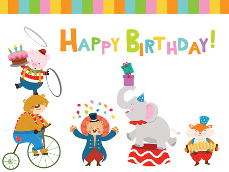 Birthday Card With Circus Animals