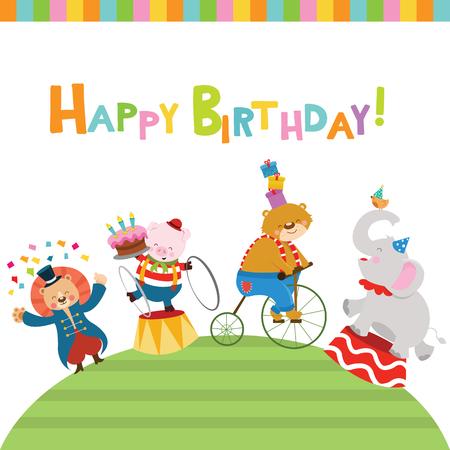 Birthday Card With Circus Animals
