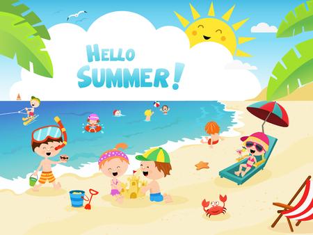 Kids Enjoying The Beach Ilustracja